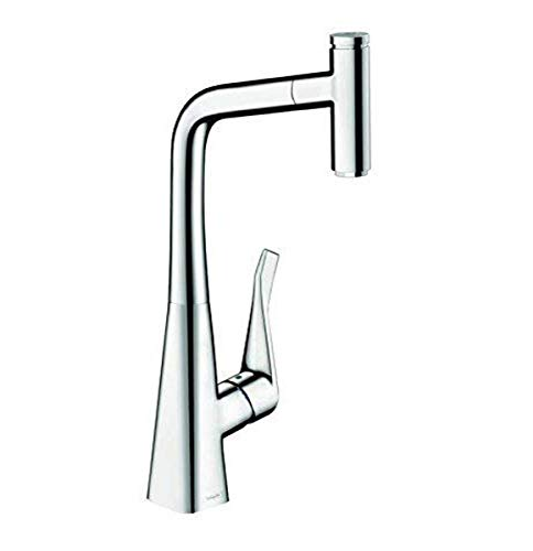 hansgrohe Metris Select Easy Install 1-Handle 16-inch Tall Kitchen Faucet with Pull Down Sprayer with QuickClean Magnetic Docking Spray Head in Chrome, 14848001