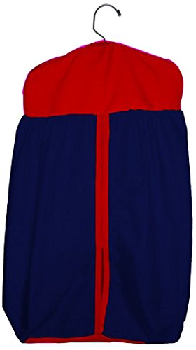 Baby Doll Bedding Solid Two Tone Diaper Stacker, Navy/Red