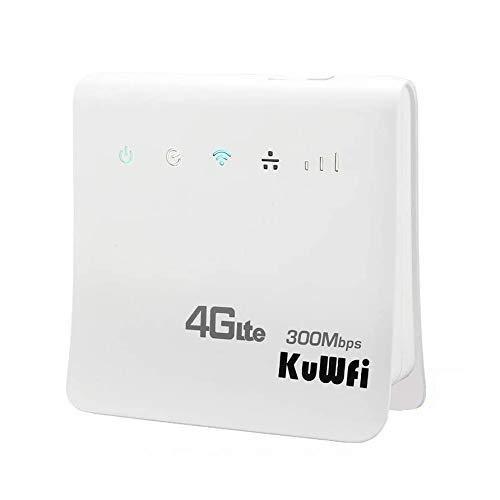 KuWFi Router 4G, 300Mbps WiFi inalámbrico 4G LTE CPE para Ranura de Tarjeta SIM con Soporte de Puerto LAN Funciona con Tarjeta SIM Movistar/Orange/Yoigo/Vodafone
