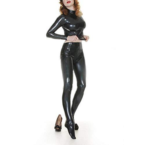 Lederunterwäsche für Damen0,4 mm Dicke Latex Damen Outfits Latex Enges Hemd & Durch Reißverschluss Legging Latex Sexy Kostüme-Gold_L.