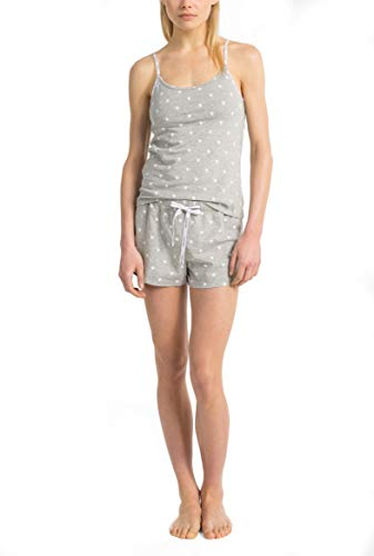 Calvin Klein Women's Carousel Logo Camisole & Shorts Pajama 2-Piece Set, Heather Grey(QP1391-063)/White, Medium