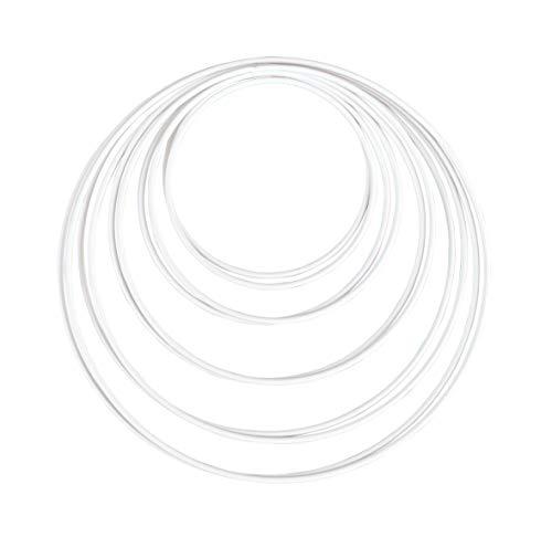 Rayher 25212102 Metallringe, 10 Stück, 5 Größen sortiert, weiß beschichtet, Stärke ca. 3 mm, Drahtringe zum Basteln, für Wickeltechnik, Traumfänger, Floristik, Hochzeitskranz; Hoops