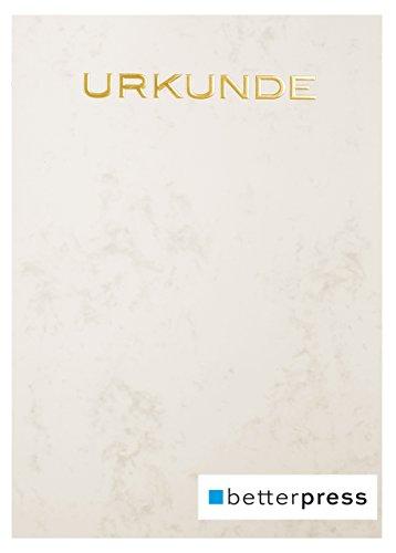 Urkunden Vordrucke Marmor geprägt Reliefprägung 200 g/m² din a4 10 Stück warm grau Betterpress (Gold)