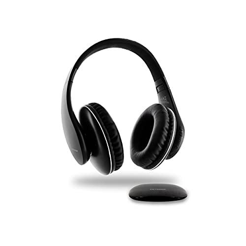 Metronic 480192 - Auriculares inalámbricos ópticos, estéreo recargables con transmisor para TV/PC/Radio/Teléfono/Tablet, conexión óptica, AUX 3.5mm, volumen integrado, autonomía hasta 10 horas