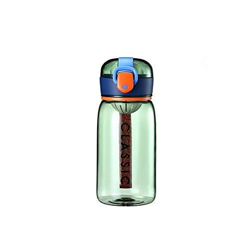 Sishangm Moderne und einfache Wassertasse Sommer Farbe Kontrast kreativ tragbarer einfacher Student Nette frische Kunststoffschale, Kapazität: 400ml, pp (Color : Green)