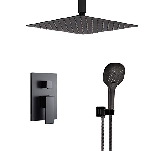 Matte Black Shower System Bathroom Luxury Rain Mixer Shower Faucet Set Ceiling Mount 12 Inch Shower Head and Handle Set with Handheld Shower Single Handle Shower Trim Kit with Rough-in Valve Body