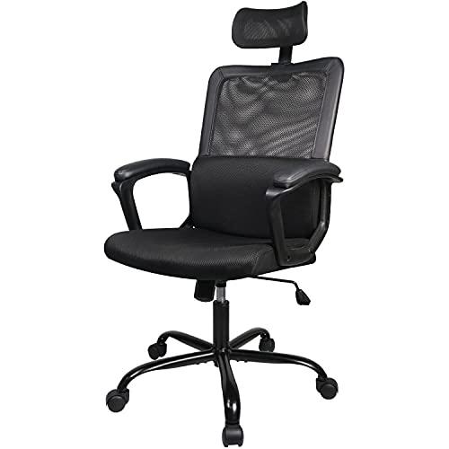 Office Chair High Back Computer Headrest Desk Chair, Business Ergonomic Cushion Lumbar Support Comfortable Mesh Racing Seat Adjustable Swivel Rolling, Black