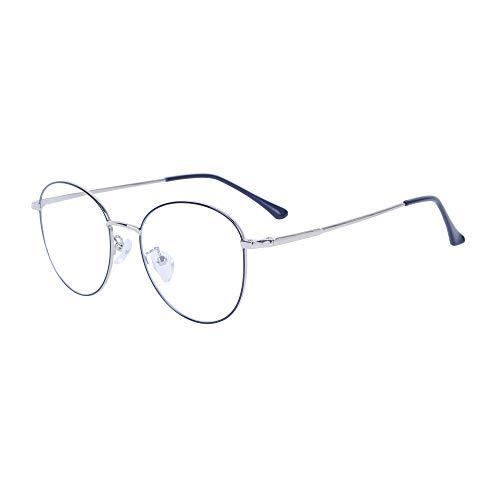 Computerbrille Anti-Blaulicht Ohne Stärke Anti-Müdigkeit UV-Schutz Retro Rund Metallgestell...