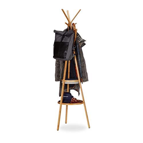 Relaxdays Garderobe mit Ablage, dreiarmiger Bambus Kleiderständer mit 6 Haken, Kleiderablage HxBxT: 171x50x50cm, natur
