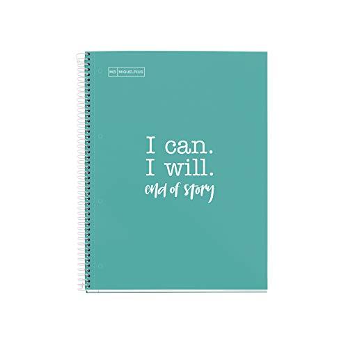 MIQUELRIUS - Cuaderno Notebook Messages - 1 Franja de color, A4, 80 Hojas Cuadriculadas de 5mm, Papel 90 g, 4 Taladros, Cubierta de Cartón Extra Duro, Color Turquesa