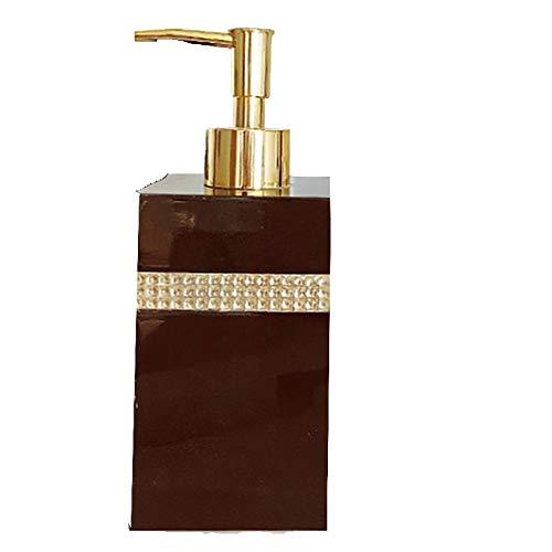Dispensador de Jabón Dispensador de jabón de Resina Reutilizable de Alta Capacidad champú y Gel de Ducha en Botellas separadas 16,9 oz dispensador (Color : Black)