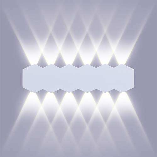 ENCOFT LED 12W 31cm Aplique Pared Interior Moderna con Luz Up Down Spot, Blanco Lámpara Iluminación de pared en Aluminio IP54 para Salón Dormitorio Escalera Pasillo, Blanco Frio 6000K