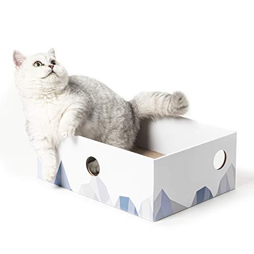 Conlun Caja de rasguños de Gato Corrugado portátil rascador Gato Carton con diseño de Orificio Interactivo y de Doble Cara