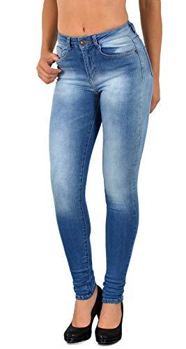 ESRA Damen Jeans Jeanshose Damen Skinny High Waist Hochbund Hose bis Übergröße S300