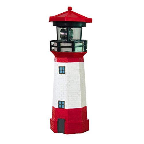 Delisouls Solar-Leuchtturm, rotierendes Garten-Licht, helle weiße LED, realistische Miniatur-Leuchtturm für Garten und Außenbereich, Ornament Dekoration