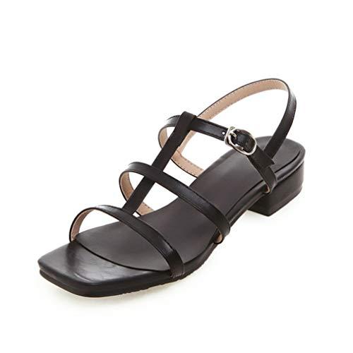 Damen Square Toe Sandalen Elegante Open Toe Knöchelriemen Low Heel Schuhe Mode Schnallenriemen Büro Karriere Arbeit Schuhe Large Size 35-42