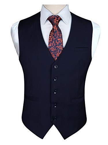 Enlision Chaleco de la boda del algodon del partido formal de los hombres de color solido chaleco Azul marino