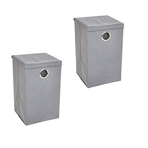 Amazon Basics - Einzelner Wäsche-Sammler mit Magnetverschluss - Grau, 2er-Packung