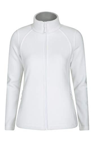 Mountain Warehouse Sky Damen-Fleece mit durchgehendem Reißverschluss – Mikrofleece-Jacke, pillingbeständiges Top, Zwischenschicht mit 2 Seitentaschen, Winter Weiß 44
