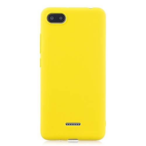 cuzz Funda para Xiaomi Redmi 6A+{Protector de Pantalla de Vidrio Templado} Carcasa Silicona Suave Gel Rasguño y Resistente Teléfono Móvil Cover-Amarillo
