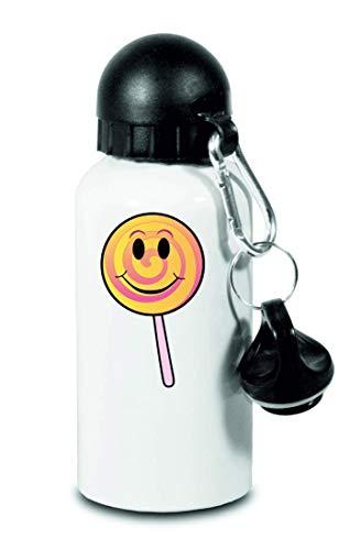 Druckerlebnis24 Trinkflasche - Lutscher Sauger Lächeln Am - Für Kinder, Schule, Sport, Fitness - Schlanke Wasserflasche aus Aluminium