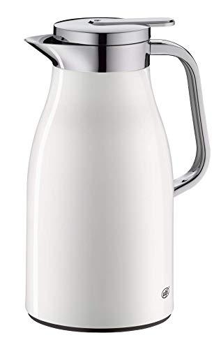 alfi Skyline, Thermoskanne Edelstahl weiß 1l mit doppelwandigem alfiDur Vakuum-Hartglaseinsatz. Isolierkanne hält 12 Stunden heiß, ideal als Kaffeekanne oder als Teekanne - 1321.211.100
