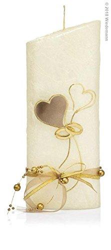 Wiedemann Hochzeitskerze Perlmutt Creme, Wachs, Gold, 22 x 8.5 cm