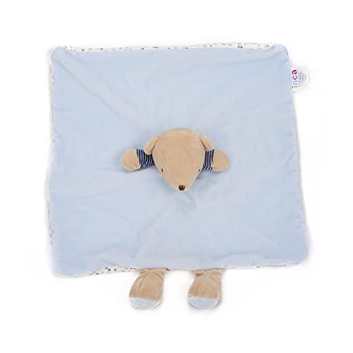 INCA. Dou dou bebé. Mantita de apego para bebé. Extra de suavidad. Peluche de Osito. Medida del doudou para bebé: Manta 16 cm x 16 cm x 6 cm (Azul)