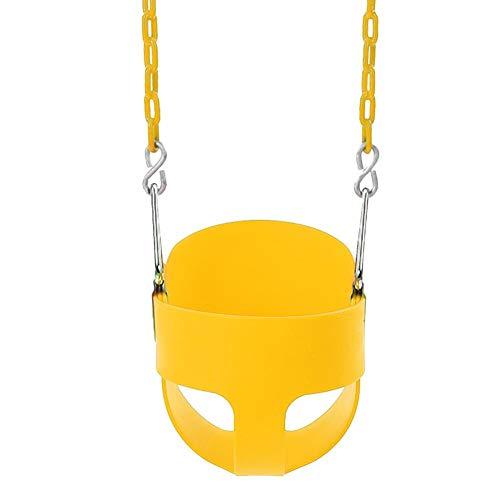 Jannyshop Asiento de Columpio de Respaldo Alto Infantil de Plástico con Cadena Completamente Montado Amarillo