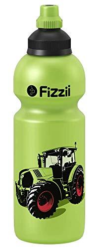 Fizzii Kinder- und Freizeittrinkflasche 600 ml (auslaufsicher bei Kohlensäure, schadstofffrei, spülmaschinenfest, Motiv: Trecker)