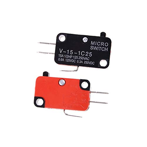 Clhbaih Micro Interruptor 5 unids/Lote 250V 16A Microondas Horno Puerta Arcade pulsador SPDT 1 NO 1 NC Micro Switch V-15-1C25 (Color : As pic)
