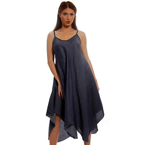 Damen Denim Kleid Oversize Maxikleid One Size Strandkleid Freizeitkleid mit Träger (One Size, Darkblue)