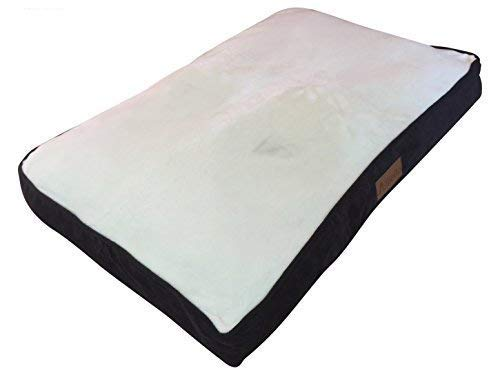 """Ellie-Bo Large 87cms x 57cms Dog Bed Brown Corduroy Sides and Cream Faux Fur Topping will fit 36"""" Large Dog Cage or Crate"""