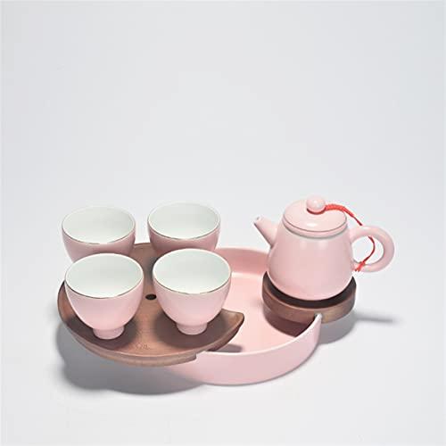 ZAIXO Cerámica rosa Tetera blanca de porcelana blanca Kung Fu Tea Pot Juego de té Accesorios de regalo Artículos para el hogar Hacer dispositivo de té (Color : Light Grey)