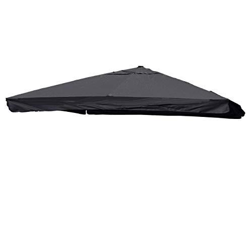 Mendler Bezug Ampelschirm HWC-A96 mit Flap, Sonnenschirmbezug Ersatzbezug, 3x3m (Ø4,24m) Polyester 3kg ~ anthrazit