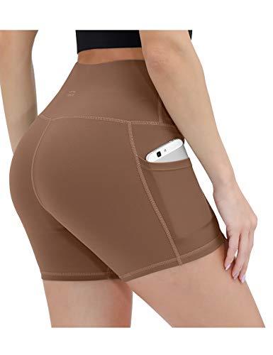 ALONG FIT Damen Leggings Kurze Sporthose mit Taschen Blickdichte Yogahose Hohe Taille Laufshorts Highwaist für Fitness Sport Taupe XXL