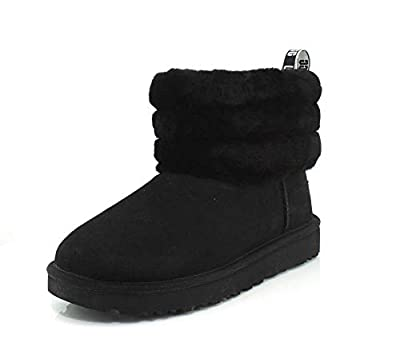 UGG Womens Classic Mini Fluff Quilted Black Boot - 9