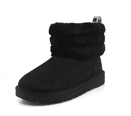 UGG Female Fluff Mini Quilted Classic Boot, Black, 4 (UK)