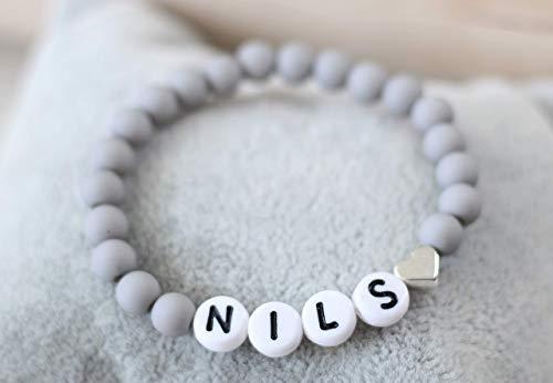 Namensarmband grau matt Herz silber farben Buchstaben weiß schwarz, personalisiert, Initialen, individualisierbar, Geschenk