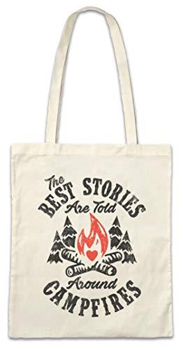 Urban Backwoods The Best Stories Are Told Around Campfires Hipster Bag Beutel Stofftasche Einkaufstasche