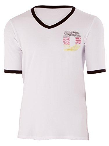 Ultrasport Herren T-Shirt mit V - Ausschnitt, Weiß/Schwarz, S, 1308-300
