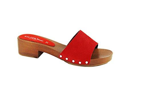 Silfer Shoes - Zueco de auténtica madera y piel de ante, color rojo. Rojo Size: 41 EU