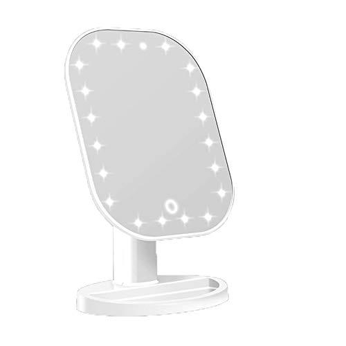 Espejo para maquillarse Baño Ducha Inicio de mesa de maquillaje Espejo de baño con luces LED de la pantalla táctil USB luminosa regulable 180 ° Giro de rotación del espejo cosmético para el hogar, mes