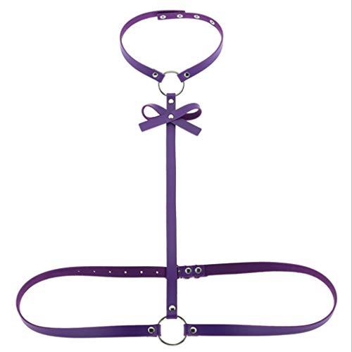 LBBD RRAL - Correas de piel ajustables para mujer, para fiestas, espectáculos, accesorios de ropa (color: morado)