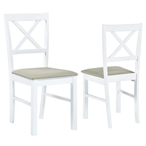 GOLDFAN 2er-Set Esszimmerstühle Holzstühle mit Rückenlehne für Esszimmer Wohnzimmer Restaurant (White)