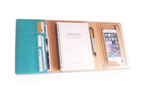 MOBRAVO Conférencier A5 Cuir avec Bloc Notes Amovibles Pochette Téléphone à Écran Tactile Porte Document...