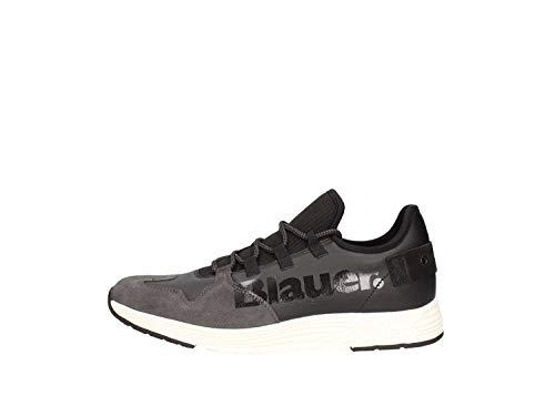 Blauer 8FMIAMI03/LEA Herren Sneaker Schnürer Leder Halbschuh Schwarz (Black), Größe 43