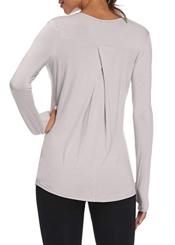 Mippo Womens Long Sleeve Shirts Activewear Tops Workout Athletic Pilates Sweatshirts Long Sleeve Running Shirts Fitness Exercise Clothes for Women Gray S