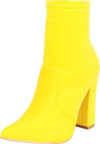 Cambridge Select Women's Pointed Toe Stretch Sock Slip-On Chunky Extra High Block Heel Ankle Bootie,7 B(M) US,Yellow