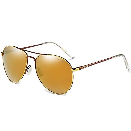 ZHHk Gafas De Sol con Montura Grande En Color, Metal Salvaje, Gafas De Sol Doradas/Plateadas con Las Mismas Gafas De Sol De Conducción Gafas de Sol (Color : Gold)